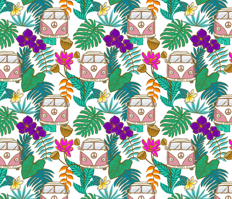 Pink Tropical Kombi - White fabric by colourcult on Spoonflower - custom fabric