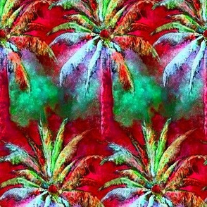WATERCOLOR PALM TREE BUZY RAWS STRIPES FOREST 3 RASPBERRY RED MINT GREEN