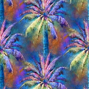WATERCOLOR PALM TREE 2 BLUE
