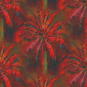 WATERCOLOR PALM TREE 2 STRIPED RED GREEN