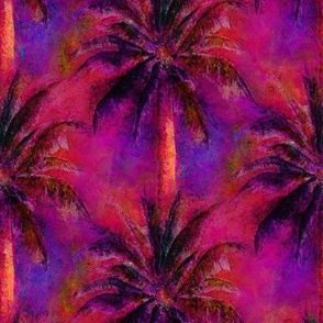 WATERCOLOR PALM TREE 2 ARTSY SUNSET