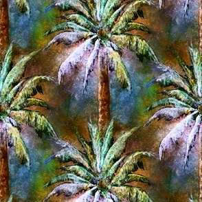 WATERCOLOR PALM TREE FOREST 2 BLUE BROWN VINTAGE STYLE