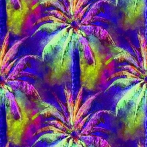 WATERCOLOR PALM TREE FOREST 2 PURPLE