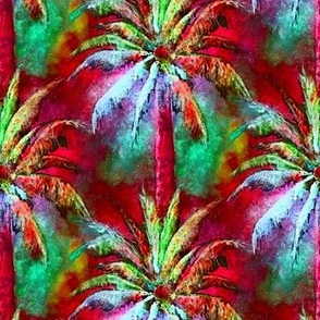 WATERCOLOR PALM TREE FOREST 2 RASPBERRY RED MINT GREEN by PAYSMAGE