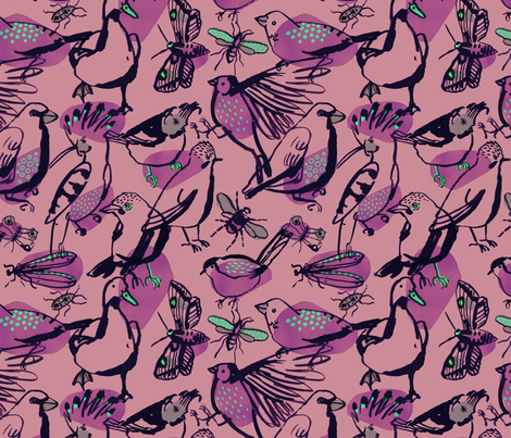 birds and insects fabric by wideeyedtree on Spoonflower - custom fabric