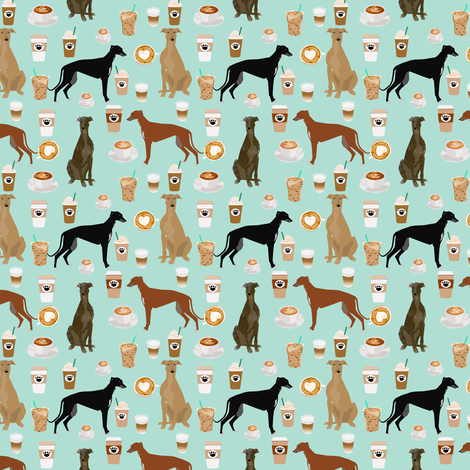cute greyhounds (smaller scale) mint coffee fabric best coffees latte fabric cute coffee fabric coffee fabric rescue greyhounds fabric fabric by petfriendly on Spoonflower - custom fabric