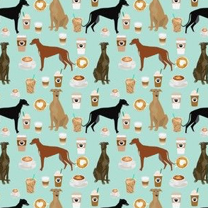 cute greyhounds (smaller scale) mint coffee fabric best coffees latte fabric cute coffee fabric coffee fabric rescue greyhounds fabric