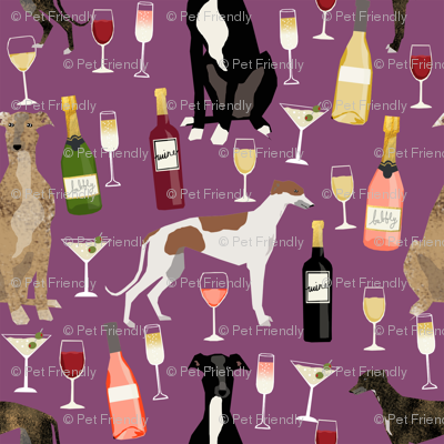 greyhounds (smaller scale) wine fabric - dogs and wine bubbly celebration fabric - amethyst
