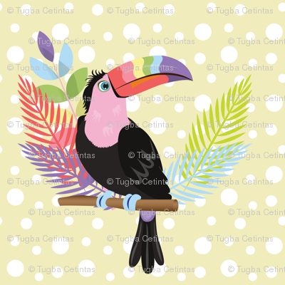 Rainbow toucan with yellow background