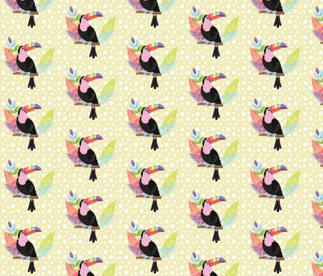 Rainbow toucan with yellow background fabric by jojo_digital_store on Spoonflower - custom fabric