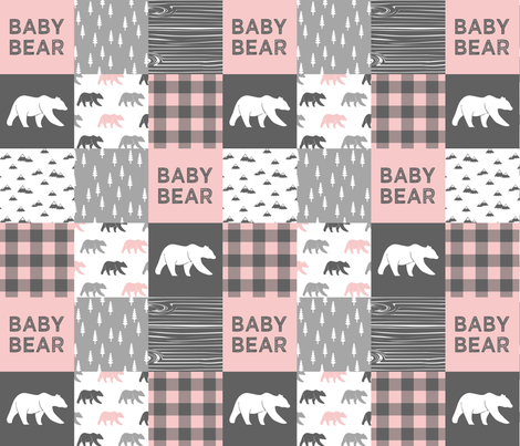 """(3"""" small scale) baby bear patchwork woodland wholecloth - pink and grey  fabric by littlearrowdesign on Spoonflower - custom fabric"""