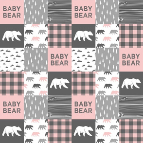 """(3"""" small scale) baby bear patchwork woodland wholecloth - pink and grey"""
