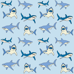 sharks in blue