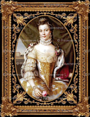 princesses Queens renaissance baroque pearls white gold gown beauty castles palaces crown tiaras lace chokers roses diamonds Victorian filigree gilt borders frames vines floral flowers beautiful woman lady necklaces jewelry capes embroidery 16th century 1