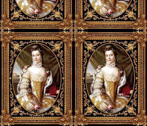 princesses Queens renaissance baroque pearls white gold gown beauty castles palaces crown tiaras lace chokers roses diamonds Victorian filigree gilt borders frames vines floral flowers beautiful woman lady necklaces jewelry capes embroidery 16th century 1 fabric by raveneve on Spoonflower - custom fabric