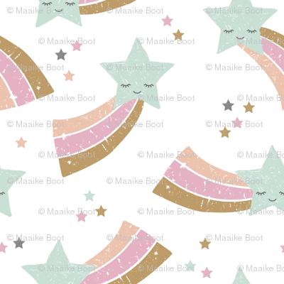 Kawaii magic rainbow love sweet dreams shooting stars make a wish mint pink girls jumbo