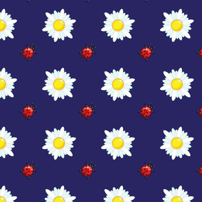 Daisies and ladybugs on blue.