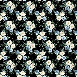 "1.5"" White and Blue Florals - Black"