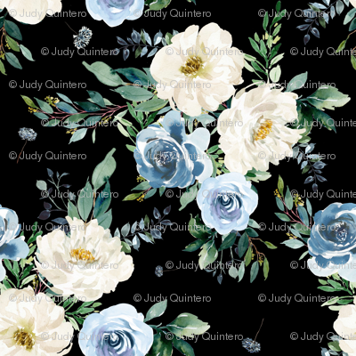 """4"""" White and Blue Florals - Black"""