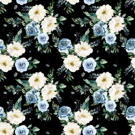 """4"""" White and Blue Florals - Black fabric by shopcabin on Spoonflower - custom fabric"""
