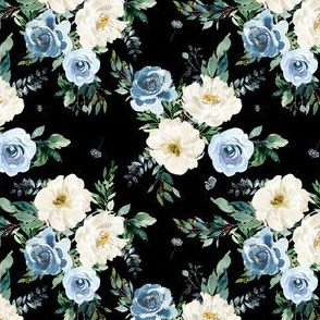 "4"" White and Blue Florals - Black"