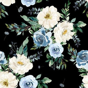 "8"" White and Blue Florals - Black"