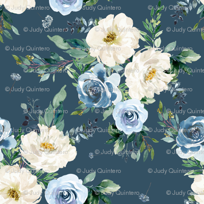 "1.5"" White and Blue Florals - Deep Blue"