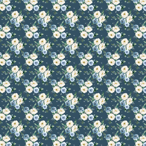 "1.5"" White and Blue Florals - Deep Blue fabric by shopcabin on Spoonflower - custom fabric"