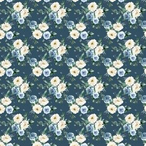 """1.5"""" White and Blue Florals - Deep Blue"""