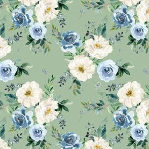 """4"""" White and Blue Florals - Green"""