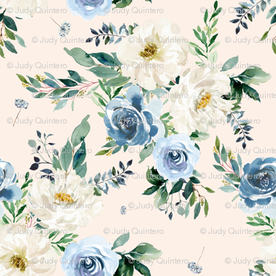 """1.5"""" White and Blue Florals - Ivory"""