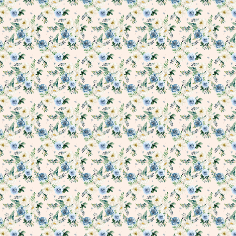"""1.5"""" White and Blue Florals - Ivory fabric by shopcabin on Spoonflower - custom fabric"""