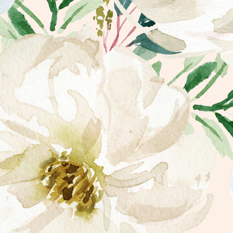 """36"""" White and Blue Florals - Ivory fabric by shopcabin on Spoonflower - custom fabric"""