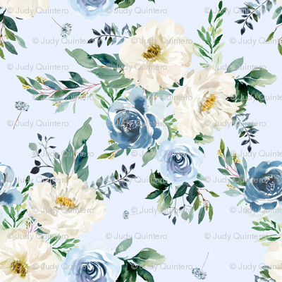 """4"""" White and Blue Florals - Light Blue"""