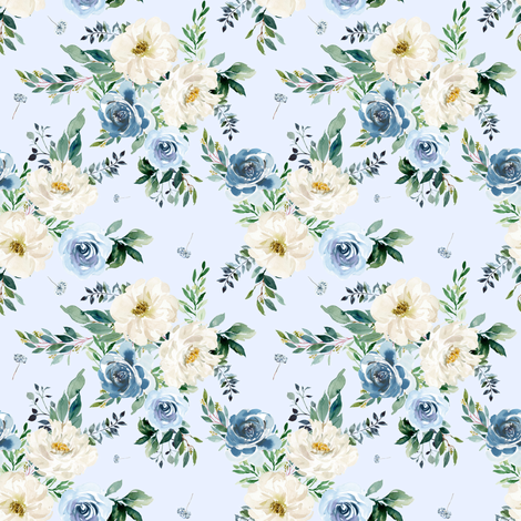 """4"""" White and Blue Florals - Light Blue fabric by shopcabin on Spoonflower - custom fabric"""