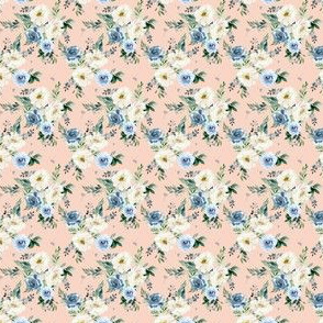"1.5"" White and Blue Florals - Peach"