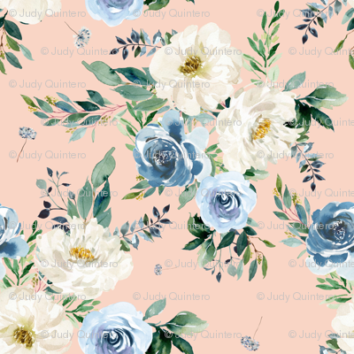 "4"" White and Blue Florals - Peach"