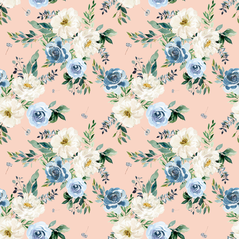 "4"" White and Blue Florals - Peach fabric by shopcabin on Spoonflower - custom fabric"