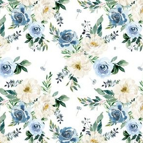 "4"" White and Blue Florals - White"