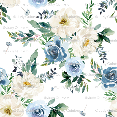 "8"" White and Blue Florals - White"