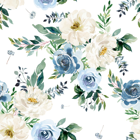 "8"" White and Blue Florals - White fabric by shopcabin on Spoonflower - custom fabric"