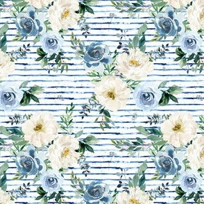 "4"" White and Blue Florals - Blue Stripes"
