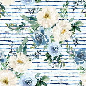 """8"""" White and Blue Florals - Blue Stripes"""