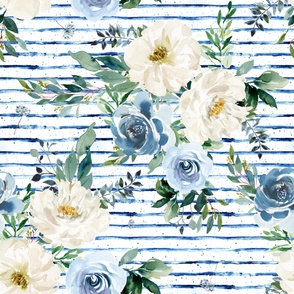 "36"" White and Blue Florals - Blue Stripes"