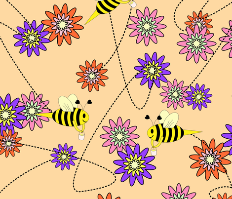 Bee with Honey Buckets fabric by themadcraftduckie on Spoonflower - custom fabric