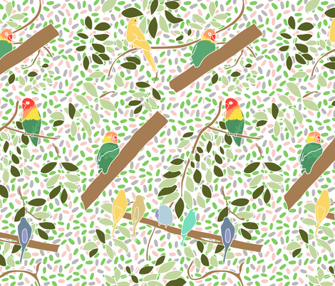 canaries and lovebirds fabric by claireybean on Spoonflower - custom fabric