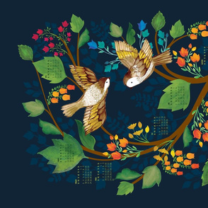 Birdsong 2019 Calendar Tea Towel