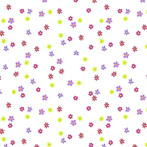 Simple Cheerful Flowers on White