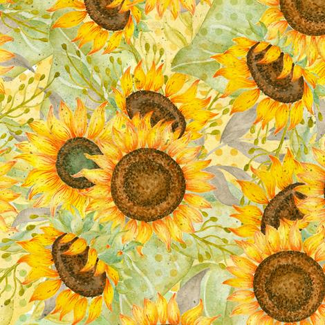 Sunflowers fabric by malibu_creative on Spoonflower - custom fabric