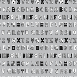 Alphabet pattern grey